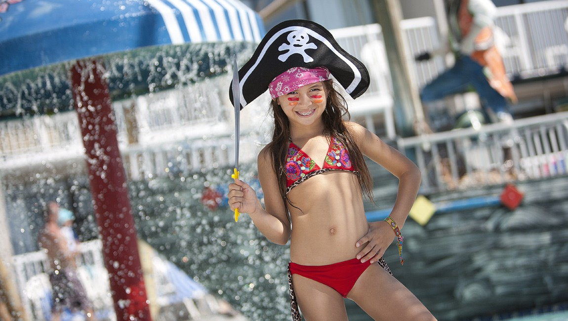 girl at the pirate pool