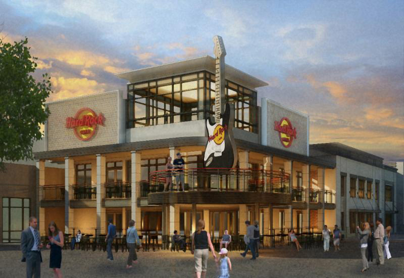 Rendering of the new Hard Rock Cafe location at Broadway at the Beach